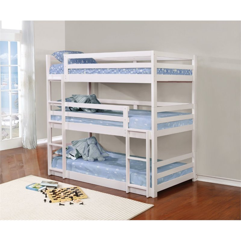 Coaster Triple Twin Bunk Bed in White - Bunk Bed Central