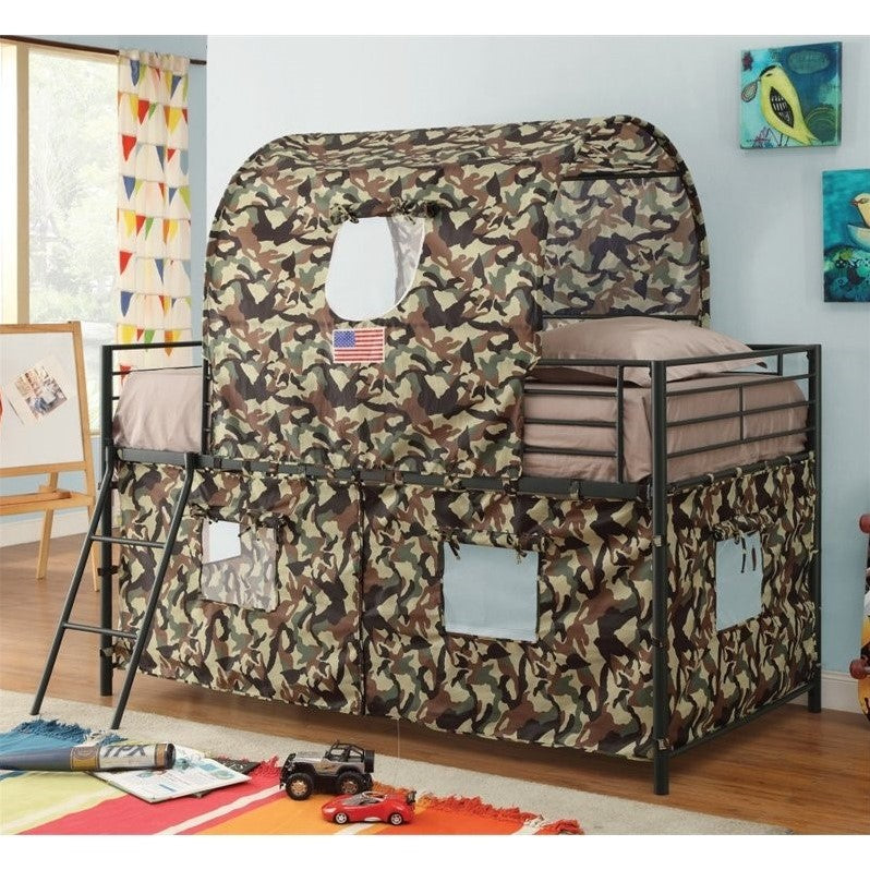 Coaster Camouflage Twin Tent Bunk Bed in Green - Bunk Bed Central