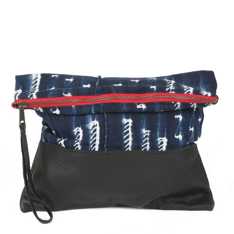Indigo Large Clutch in Black Leather