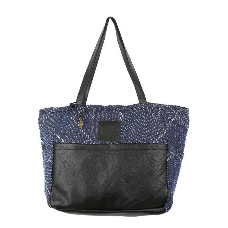 Blue Kantha Diaper Bag In Black Leather