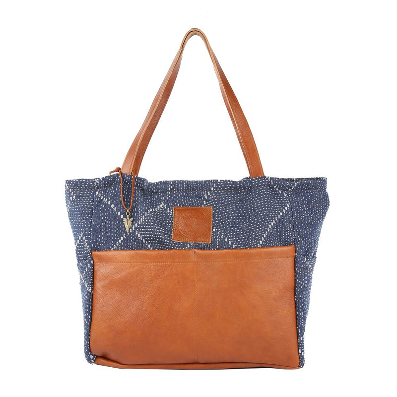 Blue Kantha Diaper Bag