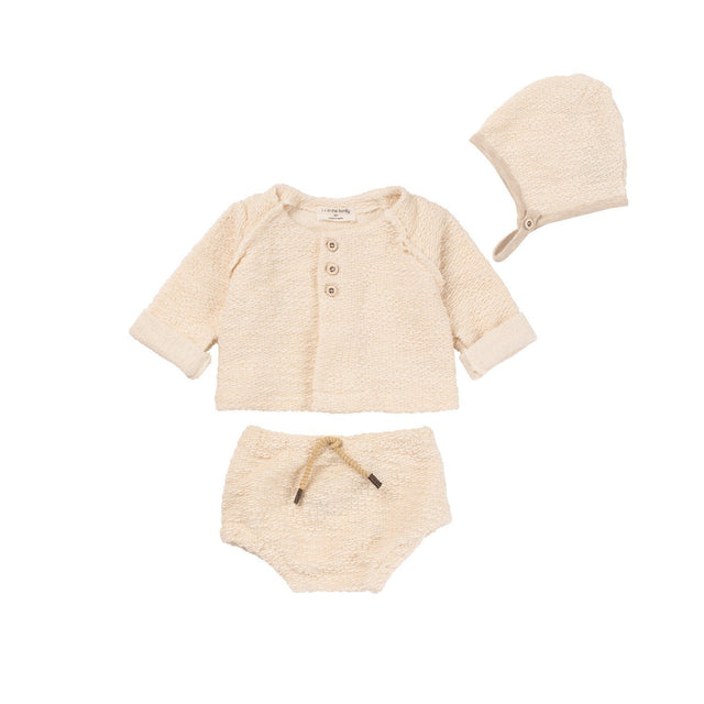 Natural 3 Piece Textured Layette Set