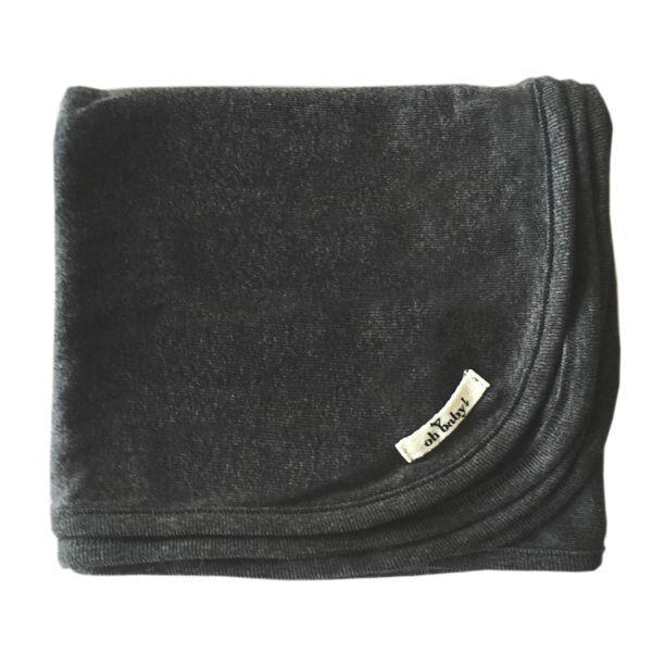 Charcoal Heather Cotton Layette Blanket