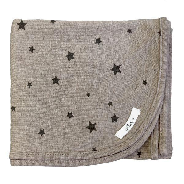 Mushroom Stars Charcoal Ink Cotton Layette Blanket