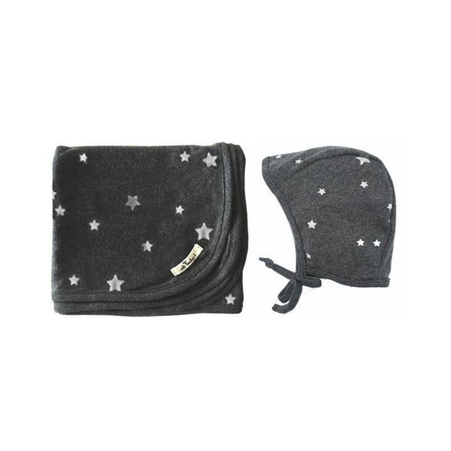 Charcoal Stars Silver Foil Layette Blanket and Bonnet Set