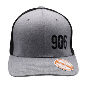 "Hat - ""906"" Heather Grey/Black FlexFit Melange Mesh Cap"