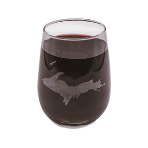 """U.P. Silhouette (Islands)"" 17 oz. Wine Glass"