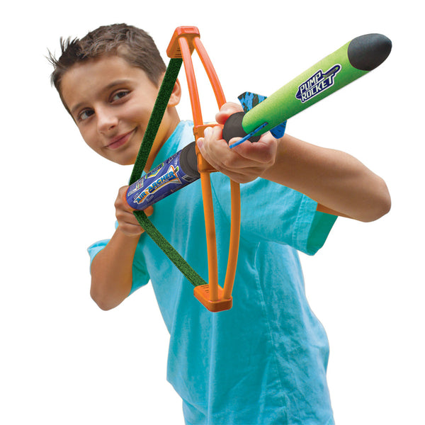 Air Archer Set - Air Powered Bow with 3 Safe Foam Rockets & 4 Darts