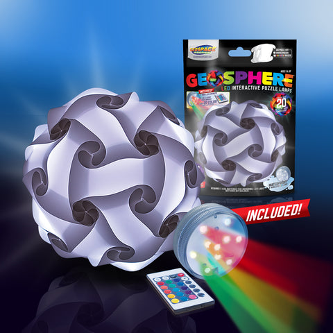 "Geosphere™ 9"" LED 30-pc. Puzzle Lamp Kit & Wireless Remote, White"