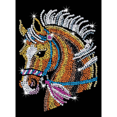 Sequin Art® Blue, Horse, Sparkling Arts and Crafts Picture Kit