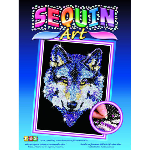 Sequin Art® Blue, Wolf, Sparkling Arts and Crafts Picture Kit