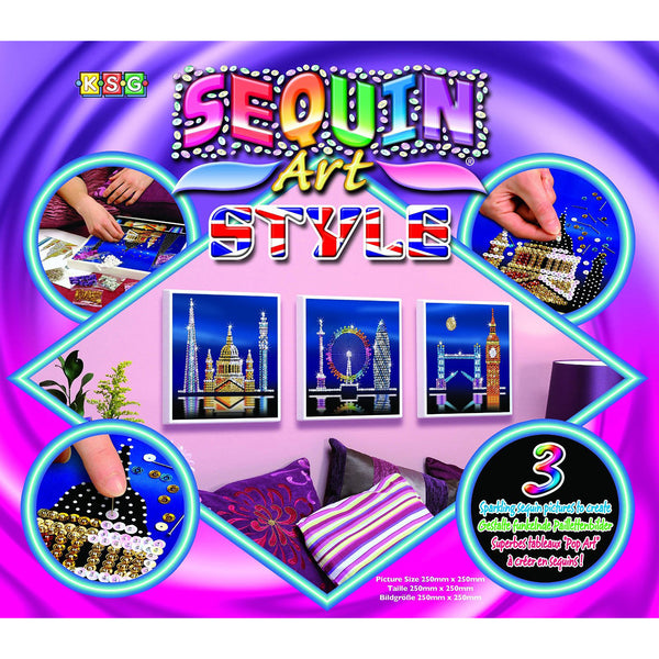 LONDON TRIO of 3 Architectural Scenes - Sparkling DIY Arts & Crafts Picture Kit from Sequin Art® Style