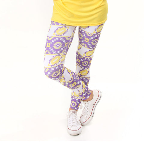 Ladies Yellow Purple Football Arden Leggings