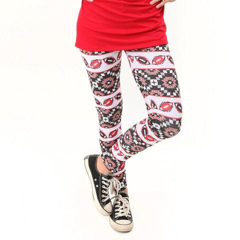 Ladies Black Red Football Arden Leggings