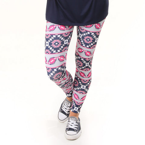 Ladies Hot Pink Navy Football Arden Leggings