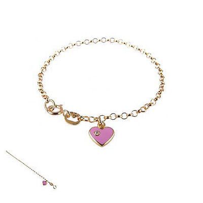18K Yellow Gold and Pink Enamel Hanging Heart Bracelet with Diamond