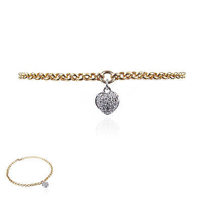 14K Yellow Gold Bracelet with Puffed Diamond Heart Charm