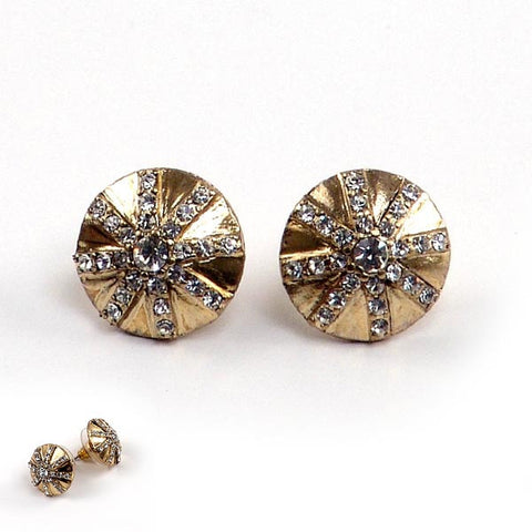 Yellow Gold Plated Disc Earrings with Cubic Zirconia Design