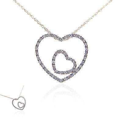 14K Yellow Gold and Diamond Double Heart Necklace