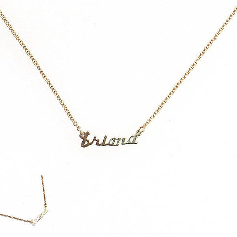 14K Yellow Gold Mini Name Plate Necklace