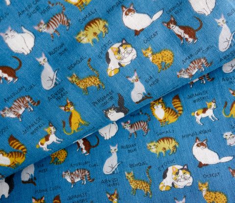 All Kinds of Cats - Dark Blue - Japanese Double Gauze Fabric