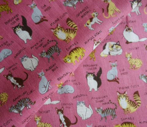 All Kinds of Cats - Pink - Japanese Double Gauze Fabric