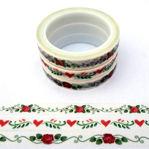 Roses and Hearts Patterns - Mini Washi Tape - Set of 3 Rolls