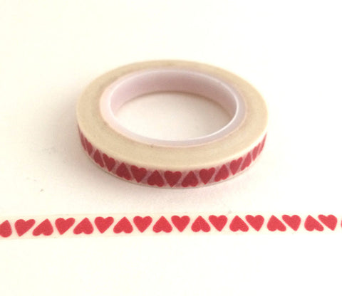 Red Hearts - Thin Washi Tape