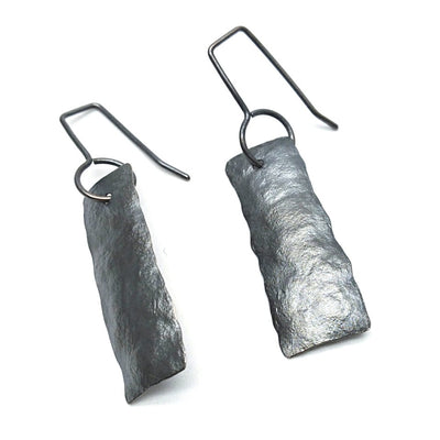 Oxidised silver short ships earrings