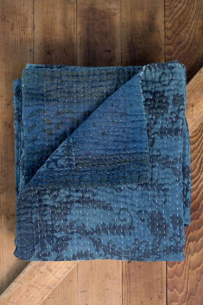 Natural Indigo Dyed Kantha Quilts - dignify  - 1