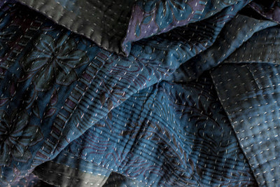 Natural Indigo Dyed Kantha Quilts - dignify  - 6