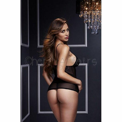 Baci - Leopard Basque & Garter Stays No Panty One Size Chemises - CherryAffairs Singapore