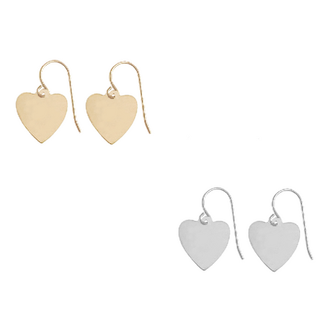 Avery Heart Earring - Gold, Silver >>