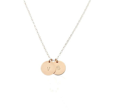 The Zoe - Hi Shine Double Disc Necklace - Gold, Silver, Rose Gold >>