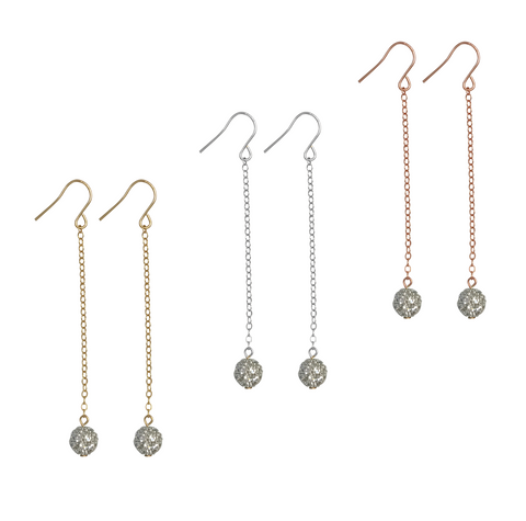 Silver crystal ball on gold or silver or rose gold chain - Gold, Silver Rose Gold>>