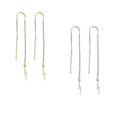 Ear Threads with Mini Lightening Bolt - Gold or silver >>