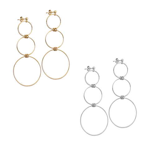 The Elm - 3 ring earring - Gold, Silver >>
