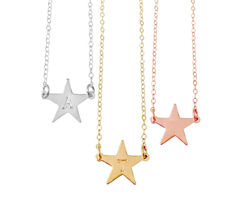 The Erica - Large Star Initial Necklace- Gold, Silver, Rose Gold >>