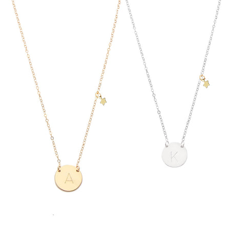 The Evie - Classic Font - Initial Necklace with mini star - Gold, Silver >>