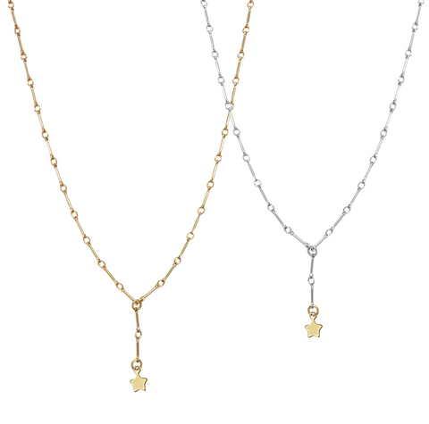 The Kristi - Mini star on bar chain necklace - Gold, Silver >>
