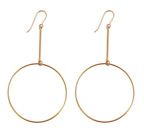 Large Ring on Bar Earrings - Gold, Silver >>