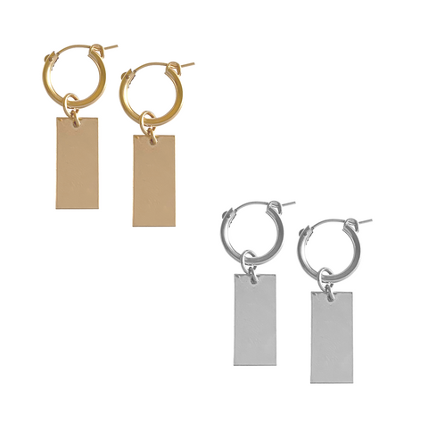 Hoop and Tag Charm Earrings - Gold, Silver >>
