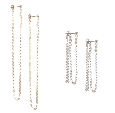 Long Chain and Mini Pearl Earring - Gold, Silver >>