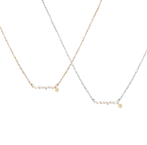 The Macy Necklace - Keshi Pearl and Star Necklace - Gold, Silver >>