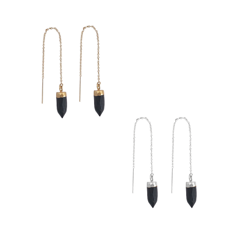 The Mari - Onyx Drop Charm Thread earring - Gold, Silver >>