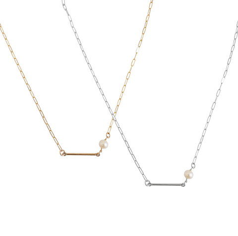 The May - Bar and Pearl Necklace - Gold, Silver >>