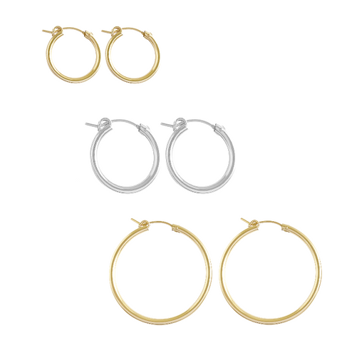 The Paris Thick Hoop earring, 3 sizes - Gold, Silver  >>>