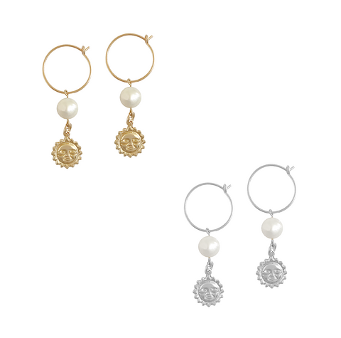 Pearl and Sun charm earring - Gold, Silver >>