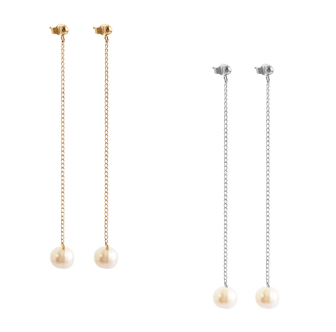 The Perla - Drop pearl earring - Gold, Silver, Rose Gold >>