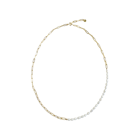 Pia Pearl and Chain Necklace - Gold, Silver >>